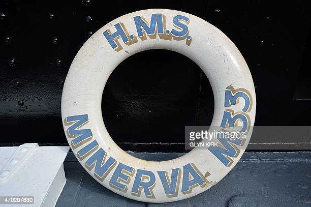 A lifering bouy on the newly restored HMS M33 Minerva in Portsmouth's Historic Dockyard on April 16 2015 Britain's last surviving warship from...