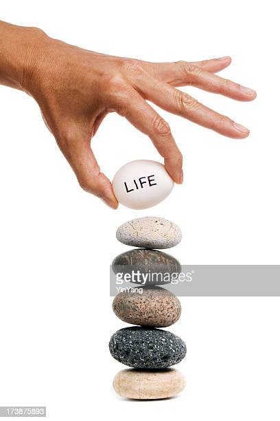 Life's Balancing Act for Harmony, Stacking Egg on Stone Stack