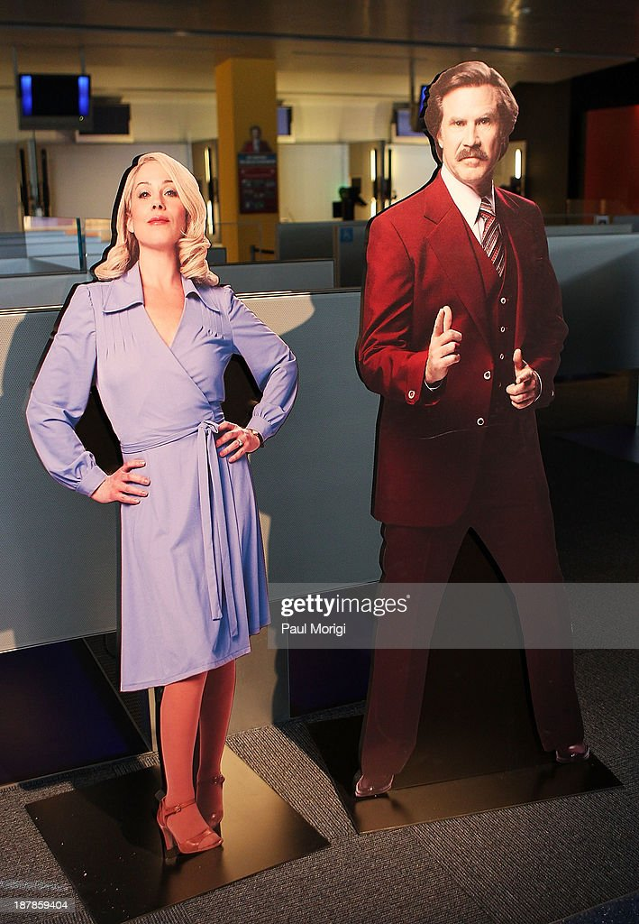 A lifesize cutouts of Veronica Corningstone and Ron Burgandy on display at the Anchorman The Exhibit media preview at The Newseum on November 13 2013...