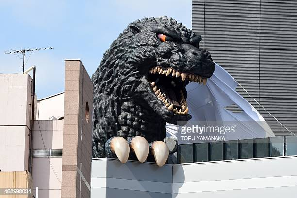 A lifesize Godzilla head appears on a balcony of the eighth floor of Hotel Gracery Shinjuku at Kabukicho shopping district in Tokyo on April 9 2015...
