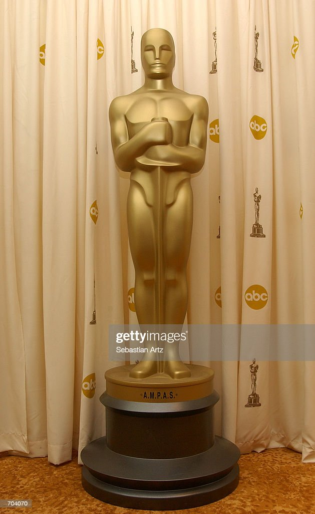 A lifesize Oscar statue is on display at the Scientific and Technical Awards March 02 2002 in Los Angeles CA
