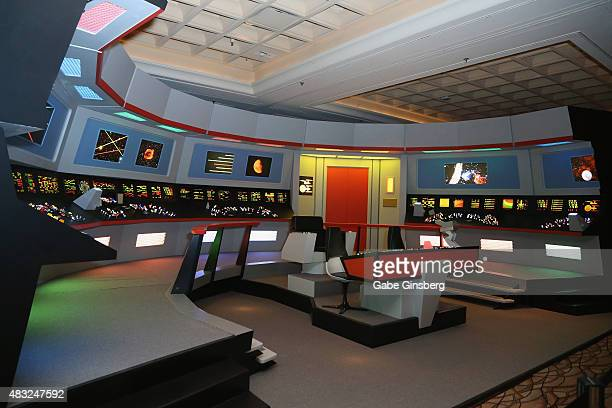 A lifesize replica of the bridge from the USS Enterprise from the 'Star Trek' television franchise is displayed during the 14th annual official Star...