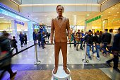 A lifesize sculpture of Benedict Cumberbatch made of chocolate to promote the launch of 'UKTV' is on display at Westfield Stratford City shopping...