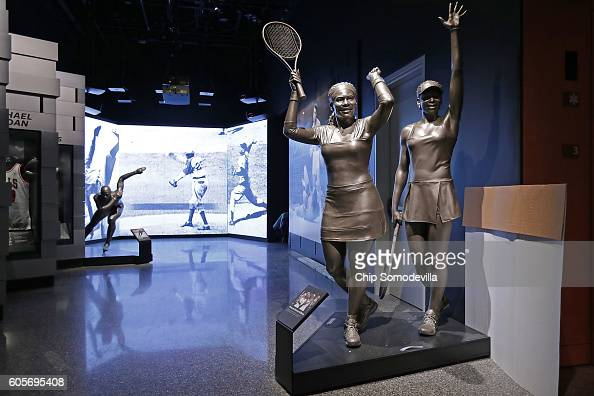 Lifesize statues of sisters Venus and Serena Williams are on display in the Sports exhibit on the third floor Community Galleries at the...