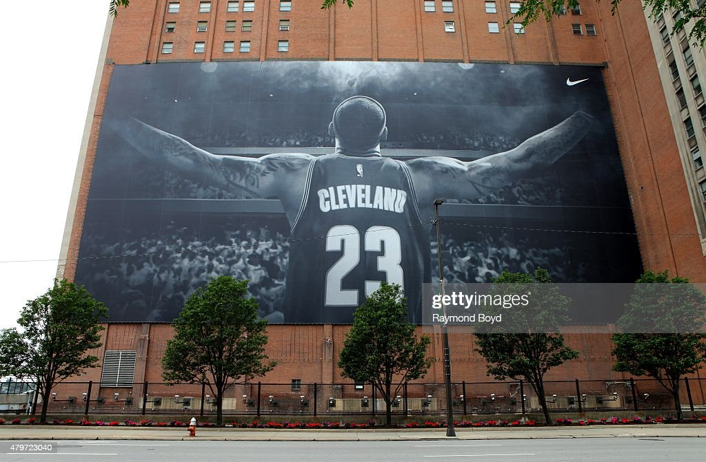 Life-sized banner of Cleveland Cavaliers player LeBron James hangs outside Sherwin-Williams Company Global Headquarters on June 19, 2015 in Cleveland, Ohio.