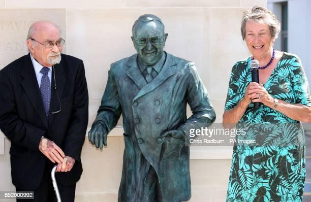 A lifesized bronze statue of Professor Sir Ludwig Poppa Guttmann is unveiled by Professor GuttmanOtildes son Dr Denis Guttmann and Daughter Eva...