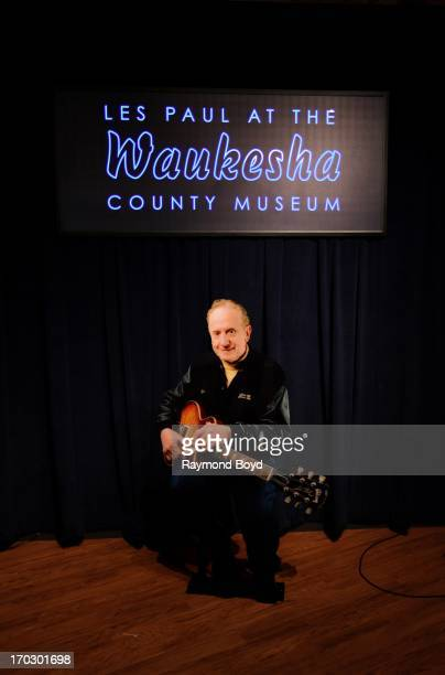 A lifesized cutout photo of Les Paul sits in the hallway outside the Les Paul exhibit 'Les Paul The Wizard of Waukesha' in Waukesha Wisconsin on JUNE...