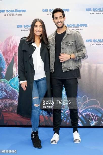LifestylBlogger and influencer Sami Slimani and his siter influencer Lamiya Slimani during the 'Die Schluempfe Das verlorene Dorf' premiere at Sony...