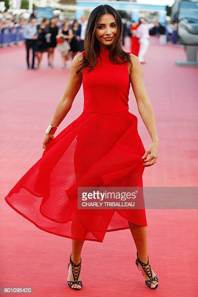 Lifestyle blogger Sananas poses on the red carpet on September 9 2016 in the northwestern sea resort of Deauville as part of the 42nd Deauville US...