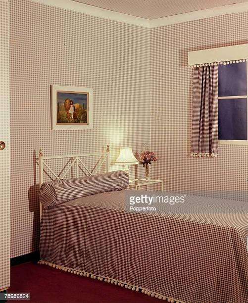 1959 A bedroom from the 1950's with everything matching in red and white