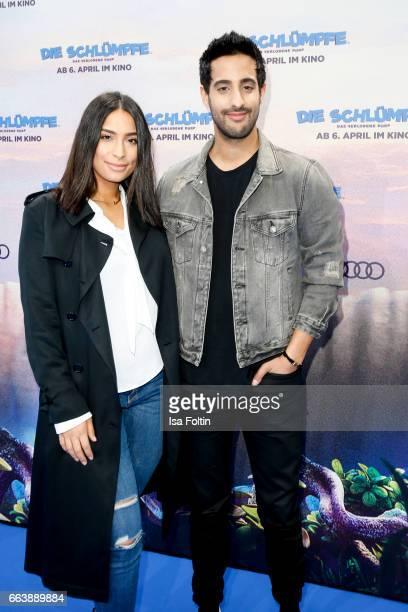 LifestyleBlogger and influencer Sami Slimani and his sister influencer Lamiya Slimani during the 'Die Schluempfe Das verlorene Dorf' premiere at Sony...
