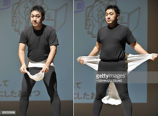 LifestyleJapanseniorfashionhealth by Miwa Suzuki This combo picture shows a Japanese model demonstrating how to put the latest style of adult diaper...