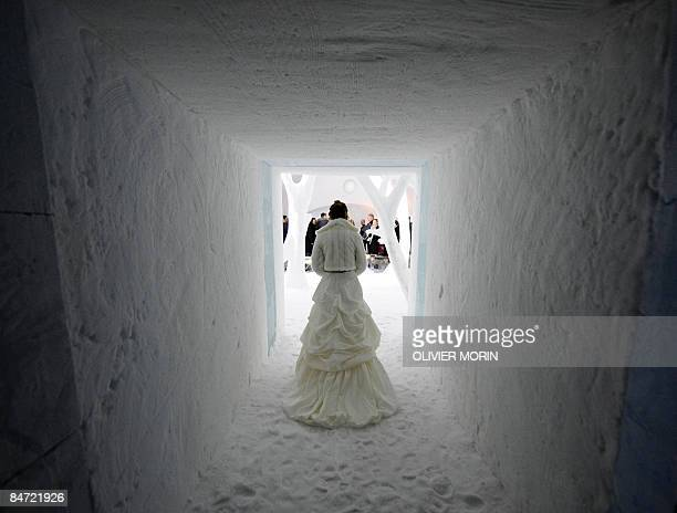 LARSON 'LifestyleSwedenArcticMarriage' Shivering more from excitement than cold a bride clad in white silk and fur all but melts into the snowy...