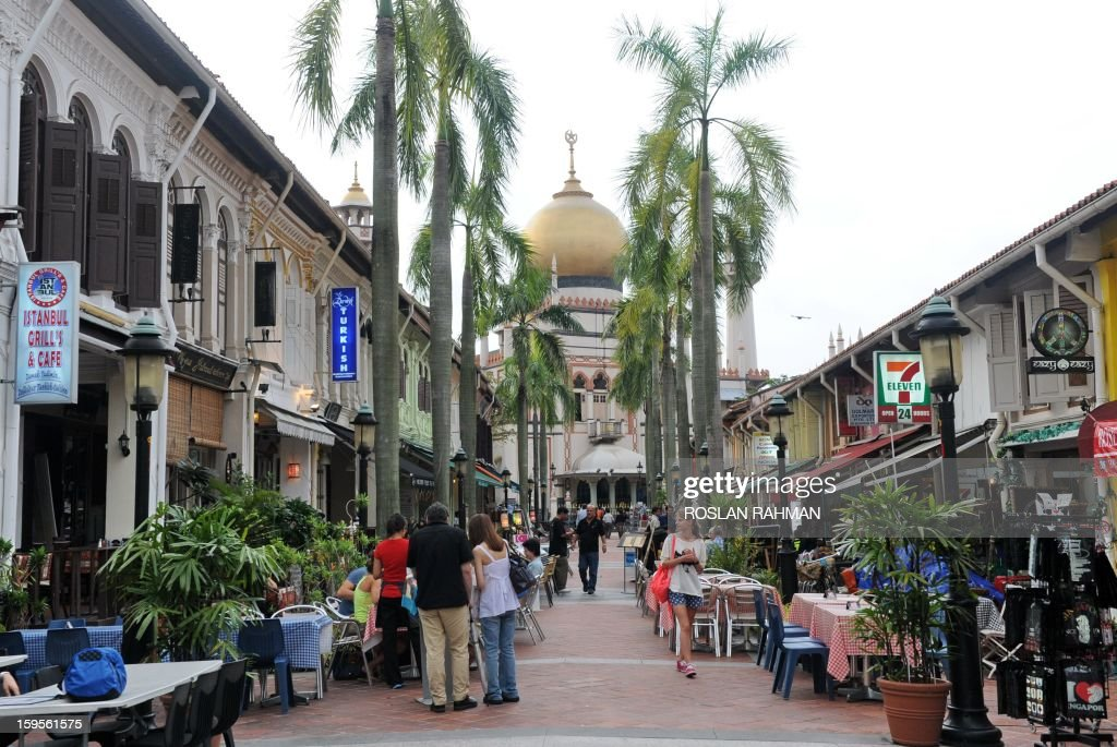 STORY 'Lifestyle-travel-Muslim-religion' This photograph taken on January 15, 2013 shows rows of halal Muslim food restaurants next to Arab street in Singapore. Malaysia has been rated the world's top Muslim-friendly holiday destination in a survey released on January 16 that listed Egypt, Turkey, United Arab Emirates, Saudi Arabia and Singapore as runners-up.