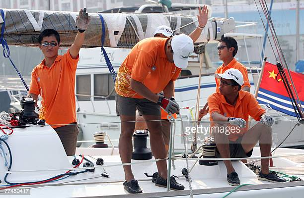 STORY 'LifestyleyachtingCHNFEATURE' BY ERIC BERNAUDEAU The crew of a Chinese boat sail from the yacht club in Hong Kong 19 October 2007 prior to the...