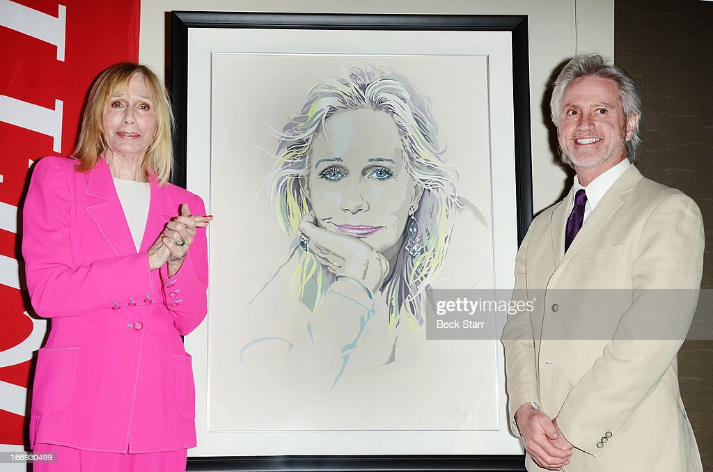 Lifetime Acheivement Award recipiant actress <a gi-track='captionPersonalityLinkClicked' href=/galleries/search?phrase=Sally+Kellerman&family=editorial&specificpeople=207185 ng-click='$event.stopPropagation()'>Sally Kellerman</a> and artist Robert Byrne at The Hollywood Chamber Of Commerce 92nd Annual Installation & Lifetime Achievement Awards luncheon at Sheraton Universal on April 18, 2013 in Universal City, California.