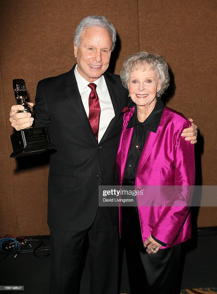 Lifetime Achievement Award honoree TV personality Steve Edwards (L) and actress June Lockhart attend the Radio & Television News Association of Southern California's 63rd Annual Golden Mike Awards at Universal City Hilton & Towers on January 19, 2013 in Universal City, California.