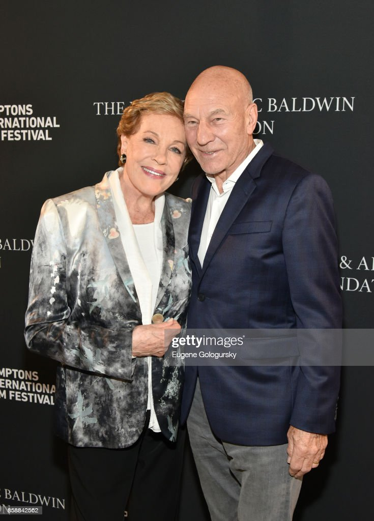 Lifetime Achievement Award recipient Julie Andrews and Patrick Stewart attend Lifetime Achievement Award Reception at Suna Residence during Hamptons International Film Festival 2017 - Day Three on October 7, 2017 in East Hampton, New York.