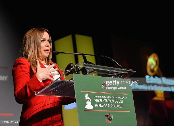 Lifetime Achievement Award recipitent Ednita Nazario speaks onstage during the 2016 Latin Recording Academy Special Awards during the 17th annual...