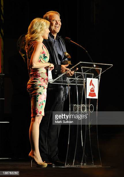 Lifetime Achievement Award winner Glen Campbell accepts his GRAMMY with his wife Kim Campbell at The 54th Annual GRAMMY Awards Special Merit Awards...