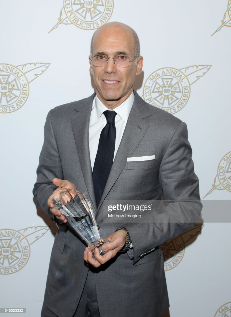 Lifetime Achievement Honoree Jeffrey Katzenberg (L) poses with award at the 54th Annual ICG Publicists Awards at The Beverly Hilton Hotel on February 24, 2017 in Beverly Hills, California.