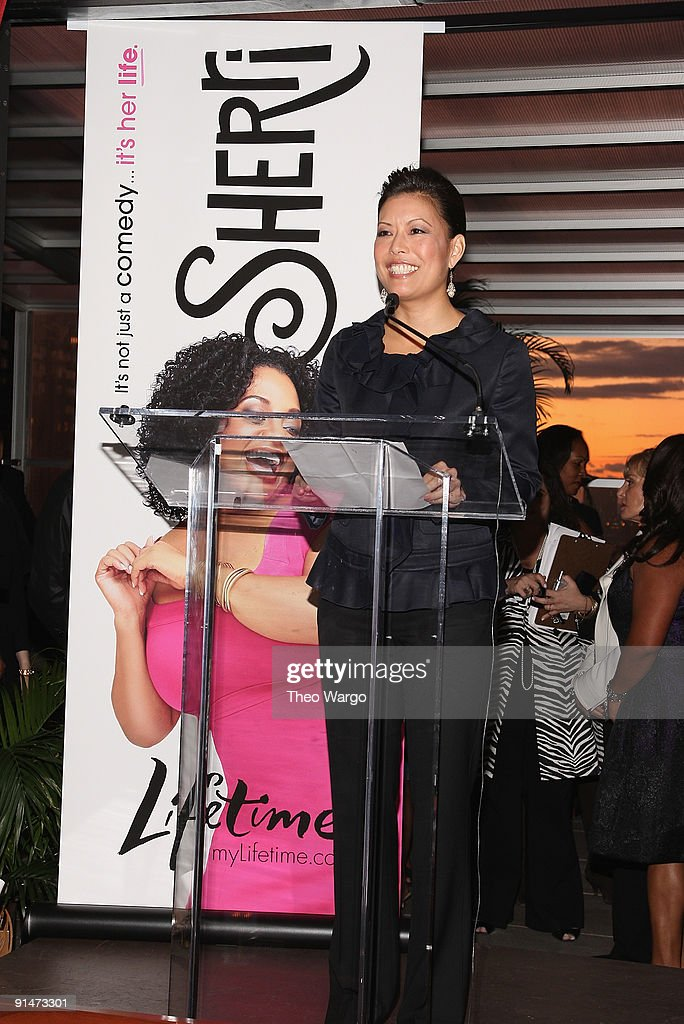 Lifetime CEO and President <a gi-track='captionPersonalityLinkClicked' href=/galleries/search?phrase=Andrea+Wong&family=editorial&specificpeople=239157 ng-click='$event.stopPropagation()'>Andrea Wong</a> addresses the crowd at the Launch Party for new sitcom 'Sherri' at the Empire Hotel on October 5, 2009 in New York City.