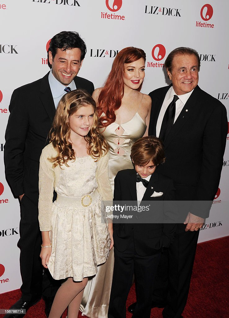 Lifetime EVP Programming Rob Sharenow, actors Taylor Ann Thompson, Trevor Thompson, Lindsay Lohan and Executive Producer Larry Thompson arrive at the 'Liz & Dick' - Los Angeles Premiere at Beverly Hills Hotel on November 20, 2012 in Beverly Hills, California.
