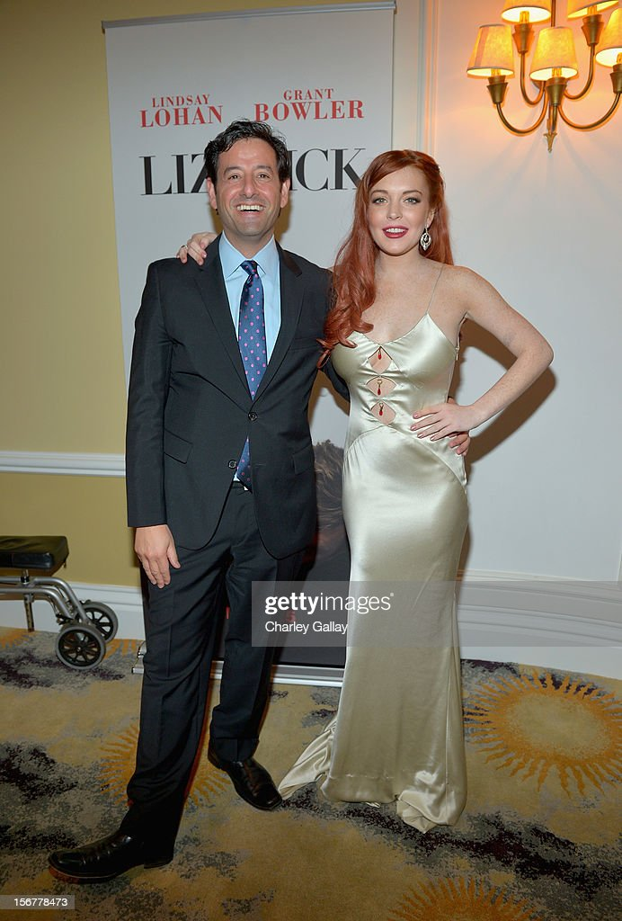 Lifetime EVP Programming Rob Sharenow and actress <a gi-track='captionPersonalityLinkClicked' href=/galleries/search?phrase=Lindsay+Lohan&family=editorial&specificpeople=171623 ng-click='$event.stopPropagation()'>Lindsay Lohan</a> attend a private dinner for the Lifetime premier of 'Liz & Dick' at Beverly Hills Hotel on November 20, 2012 in Beverly Hills, California.