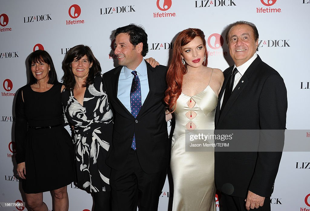 Lifetime VP Original Movies Nancy Bennett, Lifetime SVP Original Movies Tanya Lopez, Lifetime EVP Programming Rob Sharenow, actress Lindsay Lohan, and executive producer Larry Thompson attend the premiere of Lifetime's 'Liz & Dick' at Beverly Hills Hotel on November 20, 2012 in Beverly Hills, California.