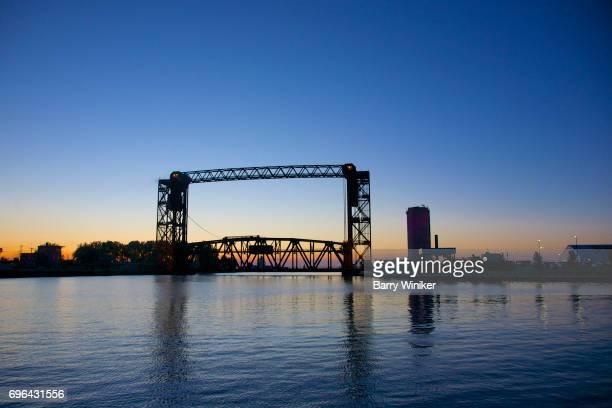 Lift bridge at dusk over Cuyahoga, Cleveland