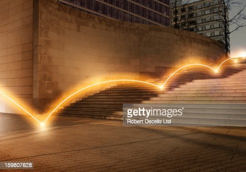 Ligh trail bouncing down steps. : Foto stock