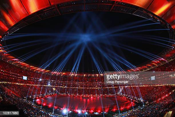 A light and projection show entertains the crowds during the closing ceremony prior to the 2010 FIFA World Cup South Africa Final match between...