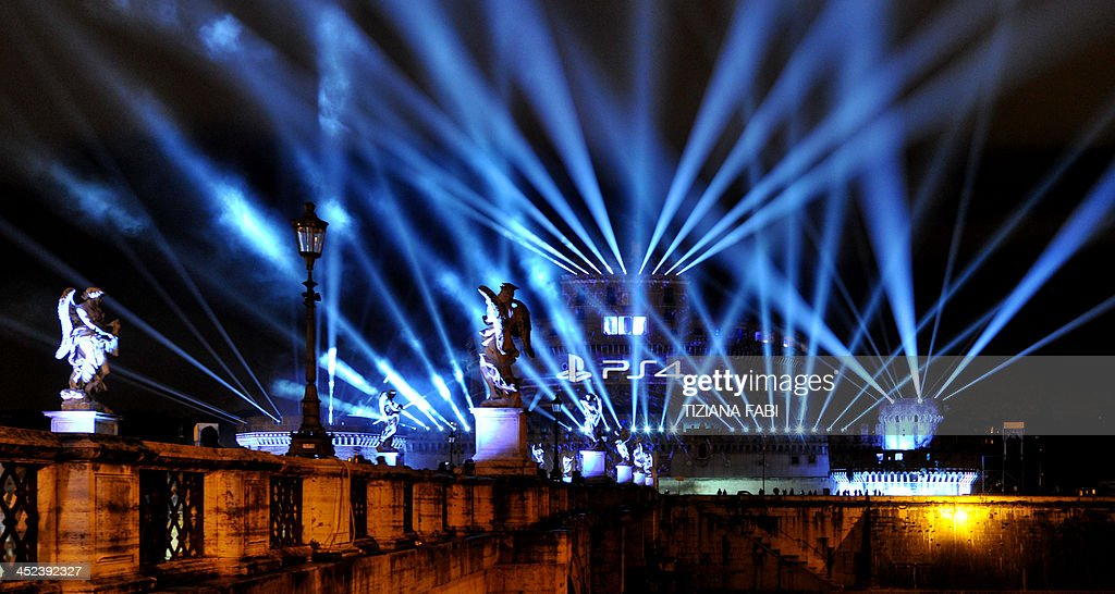 Light are projected at Castel Sant'Angelo to celebrate the PlayStation 4 official launch event on November 28, 2013 in Rome.