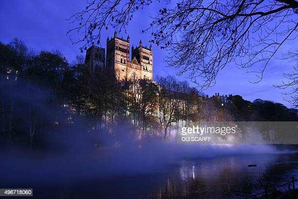 A light art installation entitled 'Fogscape' is created in front of the west facade of Durham Cathedral as part of Lumiere Durham light festival in...
