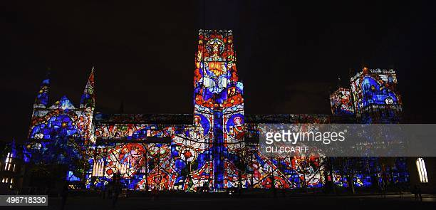 A light art installation entitled 'The World Machine' is projected onto the facade of Durham Cathedral as part of Lumiere Durham light festival in...