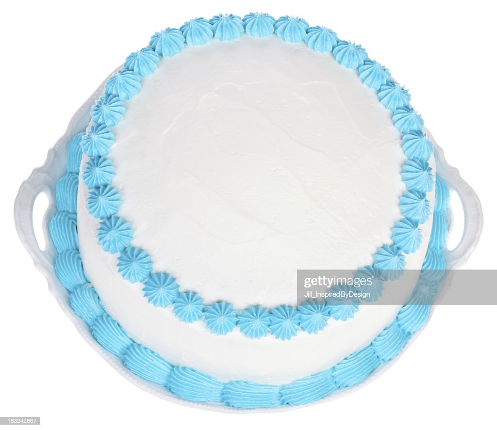 Light Blue and  White Party cake to personalize : Stock Photo