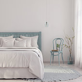 3D illustration. Bedroom in light blue and beige shades