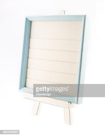 Light blue country rustic style wood frame with canvas : Stock Photo