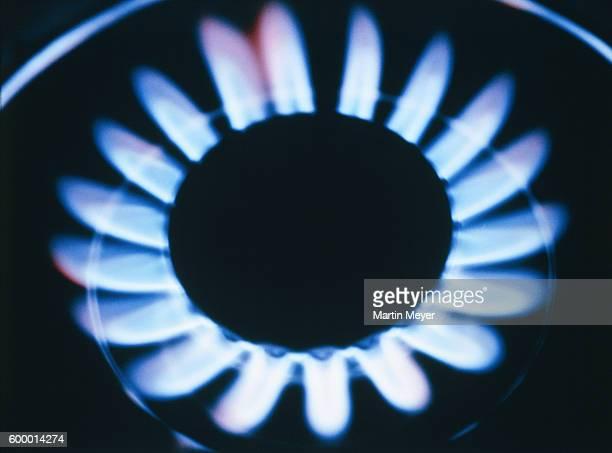 Light blue gas flame