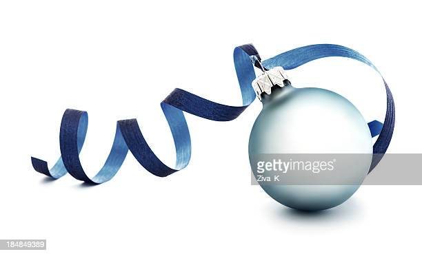 A light blue round Christmas ornament with a blue ribbon