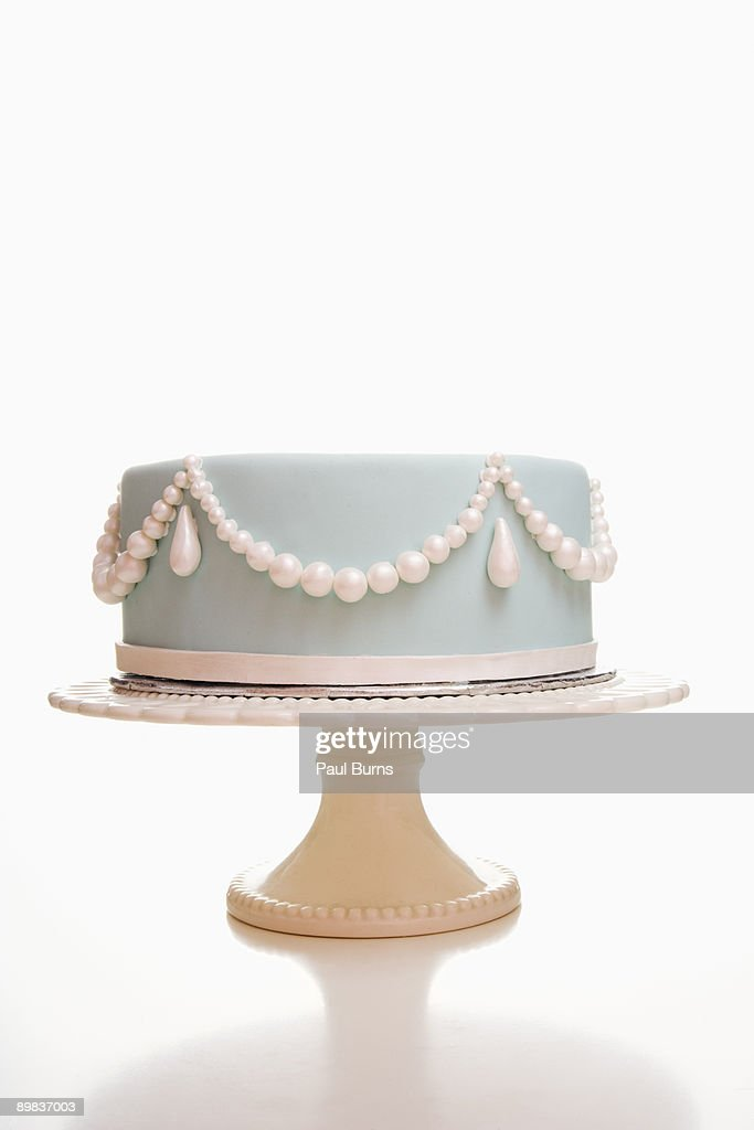 Light Blue Wedding Cake With Pearl Designs  : Stock Photo