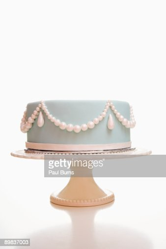 Light Blue Wedding Cake With Pearl Designs