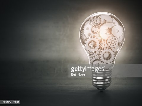 Light  bulb and gears. Perpetuum mobile. Innovation, creativity and idea concept background. : Stock Photo