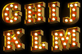Light bulb cinema or night show 3D font on black background. Entertainment industry red and gold retro letters. Set 2 - G, H, I, J, K, L, M. 3D rendering.