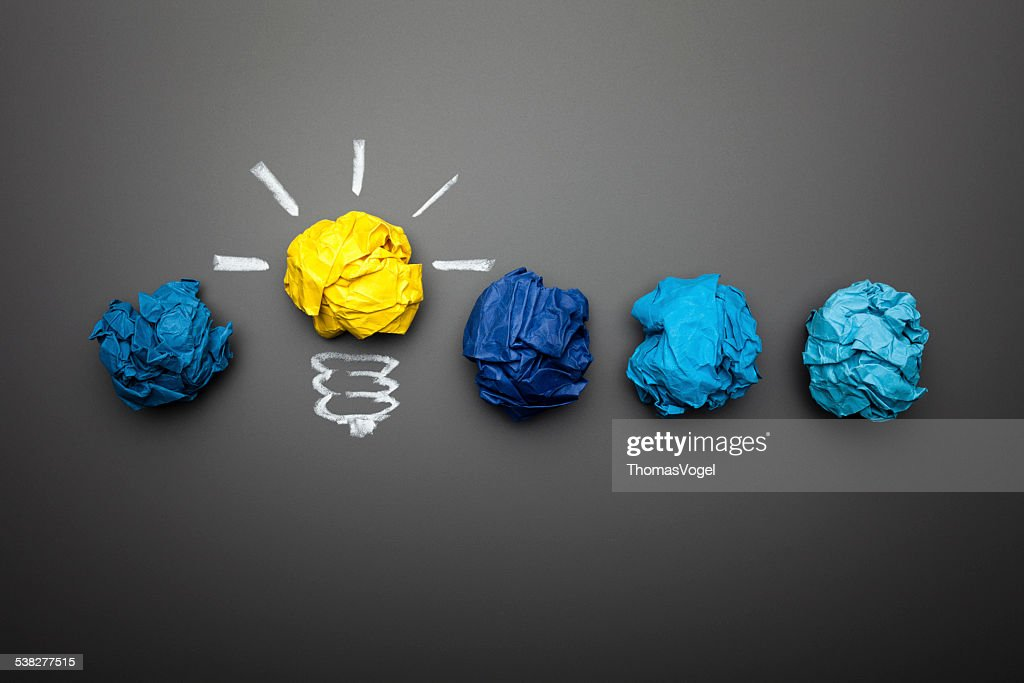 Light bulb crumpled paper on blackboard - Idea Concept Background : Stock Photo
