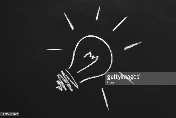 light bulb on blackboard