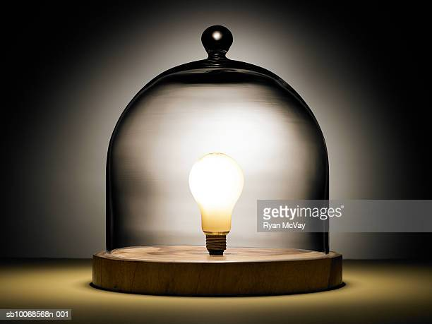 Light bulb under glass dome