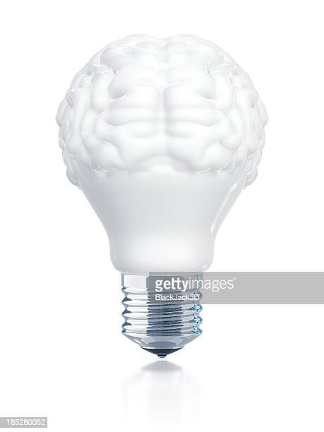 A light bulb with the top half in the shape of a brain
