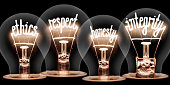 Photo of light bulbs with shining fibres in ETHICS, RESPECT, HONESTY and INTEGRITY shape isolated on black background
