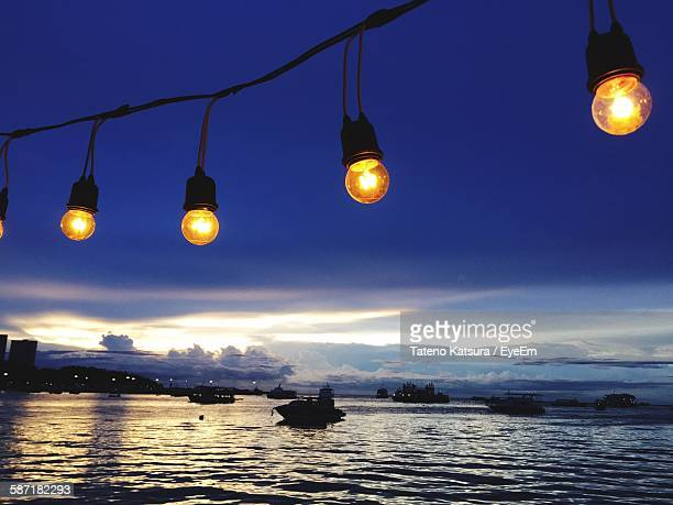 Light Bulbs Hanging Over Lake Against Sky During Dusk